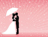 Silhouettes of groom and bride standing and hugging on the pink background. Groom holding an umbrella. Raining hearts. — Stock Vector