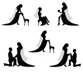 Silhouettes of a bride showing a leg with a garter on it and silhouettes of a groom putting a garter on a bride's leg — Stock Vector