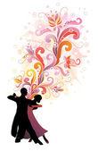 Couple dancing ballroom dance. — Stock Vector