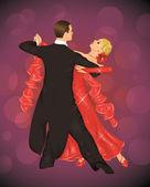 Couple is tango dancing on the purple background. — Stock Vector