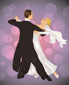 Married couple is tango dancing on the purple background. — Stock Vector