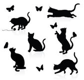 Silhouettes of cats with butterflies. — Stock Vector