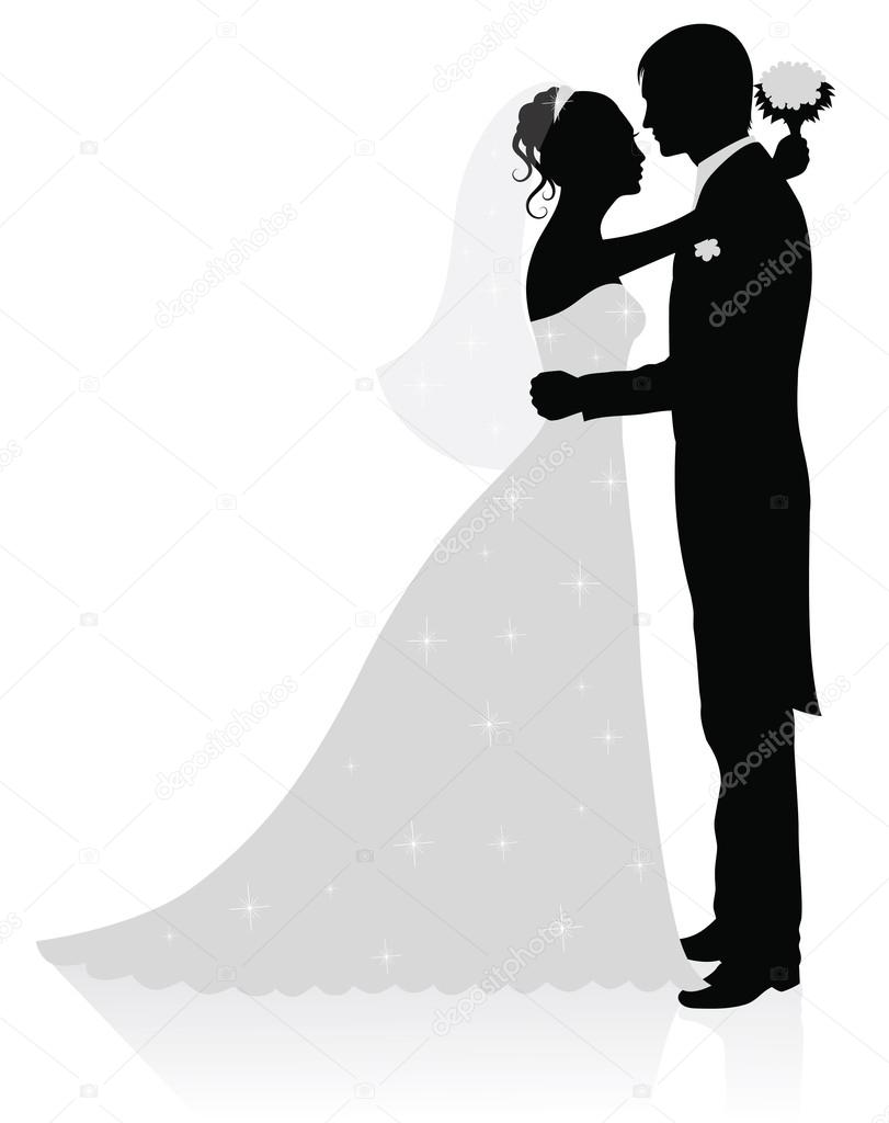 Silhouettes of groom and bride standing and hugging.    #18775867