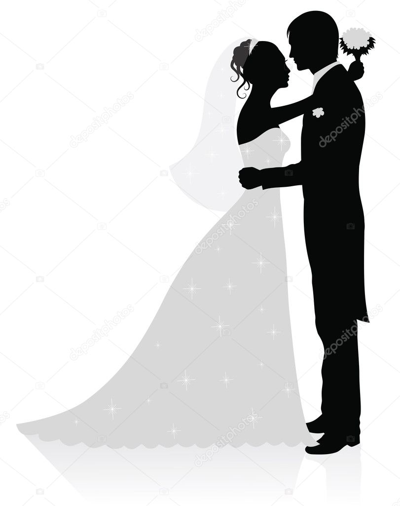 Silhouettes of groom and bride standing and hugging.  Stock vektor #18775867