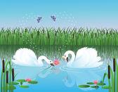 两只天鹅湖有约会上。男性头戴皇冠的女性天鹅向介绍一朵花。蝴蝶用魔法闪耀在空中画一颗心. — 图库矢量图片