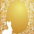 Stock Vector: Pattern in a shape of an egg on the gold background with silhouettes of rabbit.