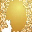 Pattern in a shape of an egg on the gold background with silhouettes of rabbit. - Stock Vector