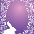Pattern in a shape of an egg on the violet background with sparkles silhouettes of a rabbit. — Stock Vector