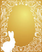 Pattern in a shape of an egg on the gold background with silhouettes of rabbit. — Stock Vector