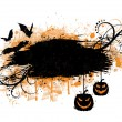 Grunge halloween banner with bats and pumpkins. - Stock Vector