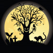Silhouette of a scary tee. Full moon on the background. — Vector de stock #18955757