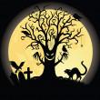silhouette di un tee spaventoso. luna piena sullo sfondo — Vettoriale Stock