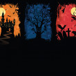 Set of a grunge halloween banners. — Stock Vector
