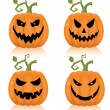 Stock Vector: Set of scary halloween pumpkin.