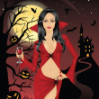 Sexy vampire holding a glass of blood. Full moon, flying bats, scary pumpkins on a tree and silhouette of a castle on a mountain on the background. — Stock Vector