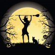 Silhouette of a witch with a broom and a cat standing on a hill. Full moon, trees and pumpkins on the background. — Vector de stock