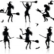 Collections of vector silhouettes of a witch with a broom. — Vector de stock #18955999