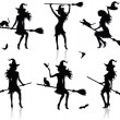 Stock Vector: Collections of vector silhouettes of witch with broom.
