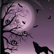 Full moon, flying bats and silhouette of a wolf and tree with pumpkins. — Stock Vector