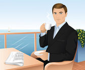 Handsome young man in a dark suit drinking tea and reading a newspaper in a cafeteria at the seaside — Stock Vector