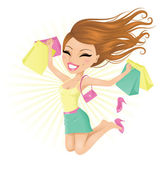 Woman happy with her shopping bags. — Stock Vector
