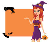 Cute red-haired witch with a pumpkin pointing to the orange background. — Stock Vector