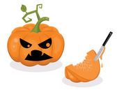 Scared pumpkin and a piece of a pumpkin with a knife inside. — Stock Vector