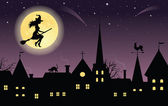 Silhouette of a witch on a broom flying over a town. Full moon and stars on the background. — Stock Vector