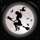 Silhouette of a witch and a cat flying on a broom. Full moon and bats on the background. — Stock Vector