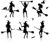 Collections of vector silhouettes of a witch with a broom. — Stock Vector