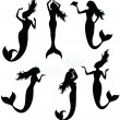 Collections of vector silhouettes of a mermaid. - 