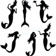 Collections of vector silhouettes of a mermaid. - Stock vektor