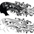 Set of Outline of a profile of a young woman with abstract hair. — Stock Vector