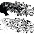 Stock Vector: Set of Outline of profile of young womwith abstract hair.