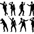 Stock Vector: Set of silhouettes of funny businessman.