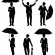 Set of silhouettes of a businessman with an umbrella. — Stock Vector #19066195