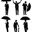 Set of silhouettes of a businessman with an umbrella. — Stock Vector