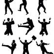 Stock Vector: Set of silhouettes of businessmjumping.