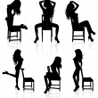 Stock Vector: Set of vector silhouettes of naked stripper womwith chair.