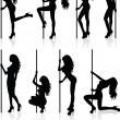 Set of vector silhouettes of a naked stripper woman with a pole. - Imagens vectoriais em stock
