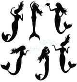 Collections of vector silhouettes of a mermaid. — Stock Vector