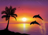 Silhouette of two dolphins jumping out of water in the ocean and silhouette of palm tree in the foreground. Beautiful Sunset and stars at the seaside in the background. — Stock Vector