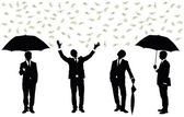 Silhouettes of a businessman standing under money rain. — Stock Vector