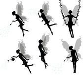Collections of vector silhouettes of a fairy. — Stock Vector