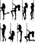 Set of vector silhouettes of a naked stripper woman with a pole. — Stock Vector