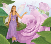 Violet fairy sitting on a leaf and reaching for flying magic horse. Pink roses on a background. — Stock Vector