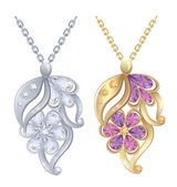 Illustration - Isolated pendants with diamonds in silver and gold. — Vecteur