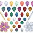 Set of jewelry gems — Vettoriali Stock