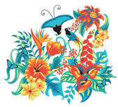 Tropical pattern with birds. — Stock Vector