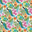 Seamless tropical pattern with peacocks and flowers. — Stock Vector